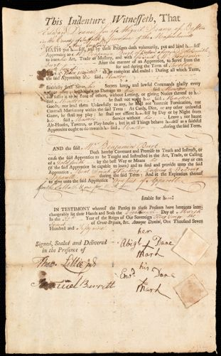 Document of indenture: Servant: Dane [Deane], Edward. Master: Burt, William Benjamin. Town of Master: Boston