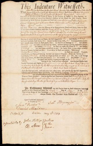 Document of indenture: Servant: Taylor, John. Master: Ridgway [Ridgaway], Samuel Jr. Town of Master: Boston