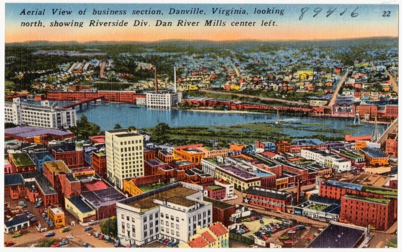Aerial view of Business Section, Danville, Virginia, looking north, showing Riverside Div. Dan River Mills center left.