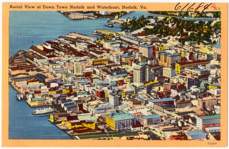Aerial view of Down Town Norfolk and Waterfront, Norfolk, Va.
