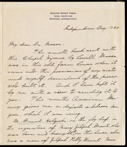 [Letter] 1930 July 4, Winstead, Connecticut [to] Dr. Mason