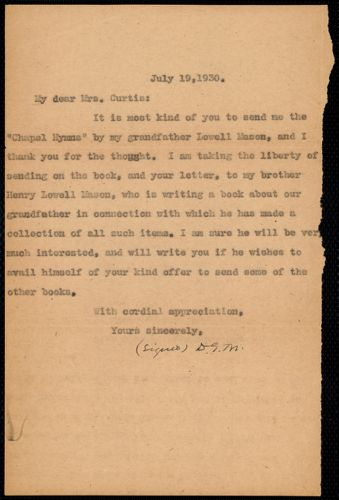 [Letter] 1930 July 19, [to Janet Munro Curtis]