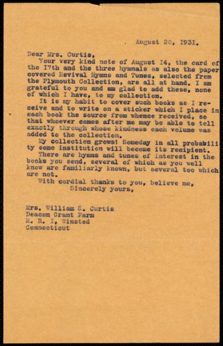 [Letter] 1931, August 20 [to] Mrs. William S. Curtis, Winstead, Connecticut