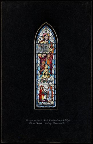 Design for north aisle window nearest the pulpit, Christ Church, Quincy, Massachusetts