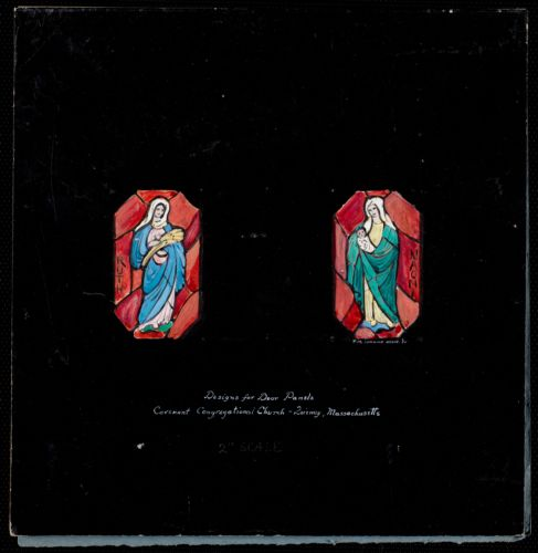 Designs for door panels, Covenant Congregational Church, Quincy, Massachusetts.