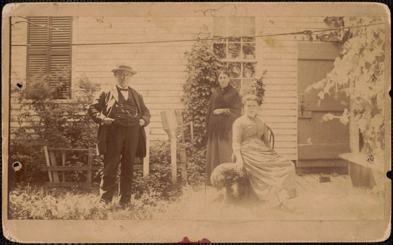Grandfather Charles Dame, Grandmother Frances Amelia Dame, Aunt Graces Maria Dame, at home, 28 High St. Newburyport, about 1885