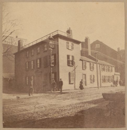"""Boston, corner of Tremont + Hollis Sts. where three members of the """"Boston Tea Party"""" lived + were here dressed as Indians."""