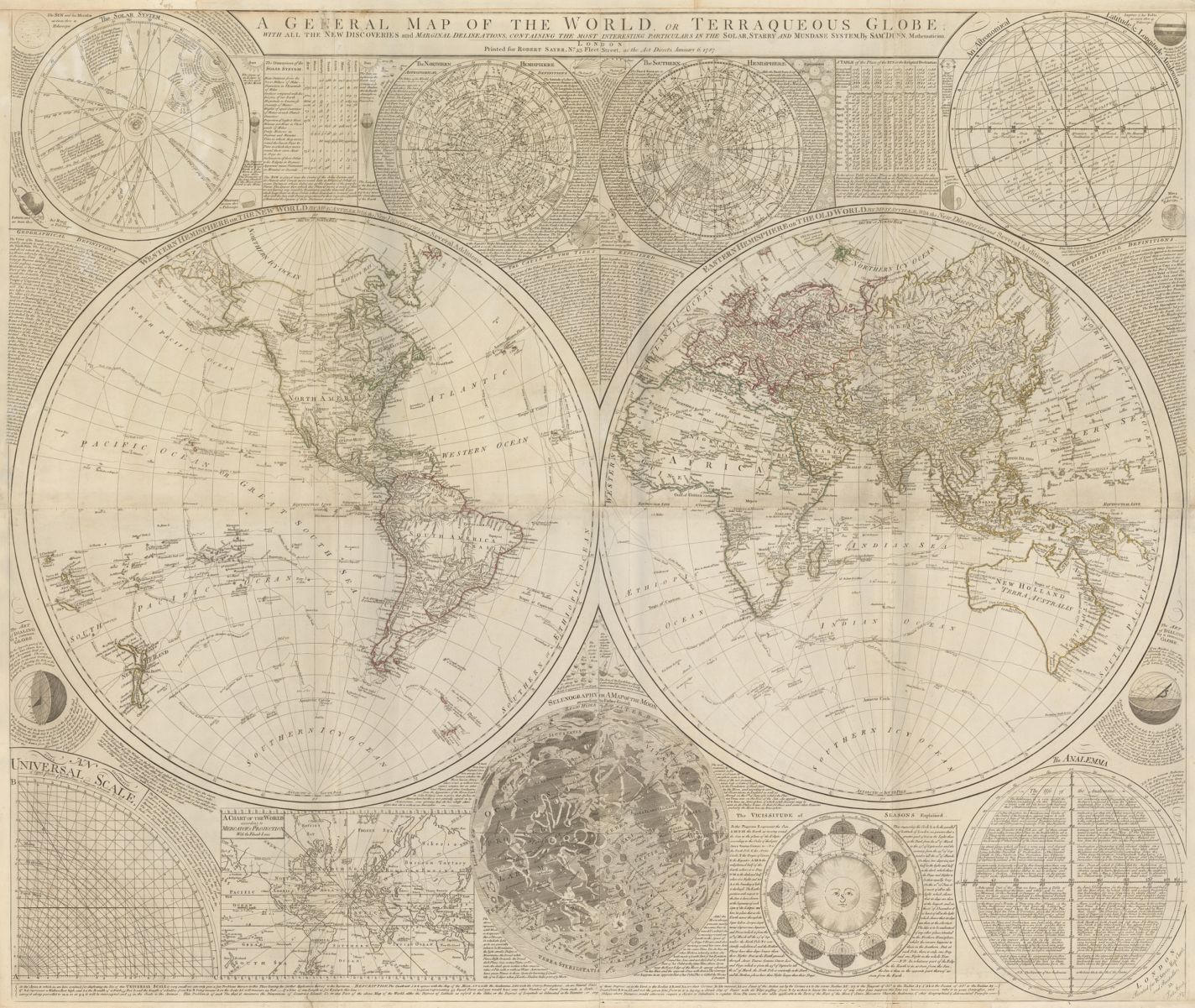 Robert Sayer, A General Map of the World or Terraqueous Globe, (1787). Wall map, copperplate, 107.5 × 127 cm., MacLean Collection 26743.