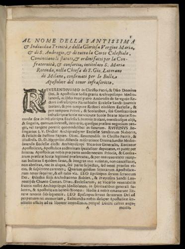 Li statuti & ordini fatti per la Confraternità & consortio intitolato S. Maria Rotonda nella Chiesa di S. Gio. Laterano di Milano