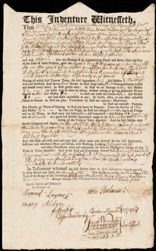 Document of indenture: Servant: Godwin [Goodwin], Benjamin. Master: Parkman, John. Town of Master: Boston