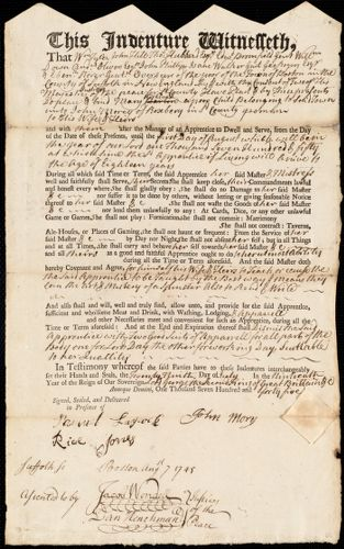 Document of indenture: Servant: Kirkland, Mary. Master: Morey, John. Town of Master: Roxbury