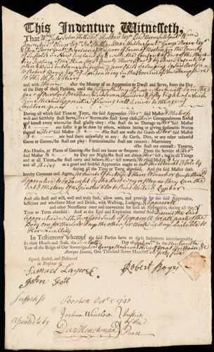 Document of indenture: Servant: Anderson, Jane. Master: Royce, Robert. Town of Master: Londonderry