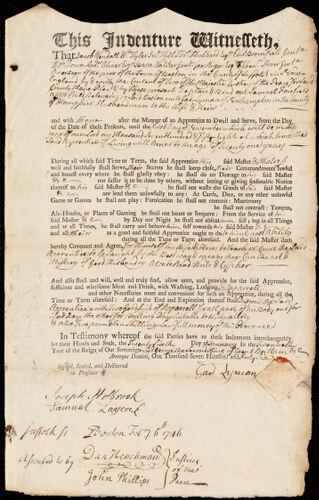 Document of indenture: Servant: Fairfield, Samuel. Master: Lyman, Gad. Town of Master: Northampton
