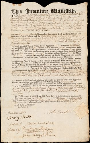 Document of indenture: Servant: Bell, John. Master: Cunnabell [Cunnable], John. Town of Master: Boston