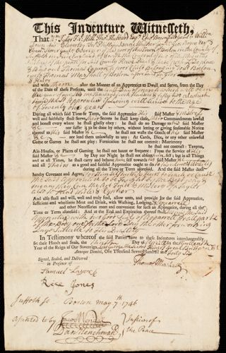 Document of indenture: Servant: Capron, Thomas. Master: Marshall, Thomas. Town of Master: Boston