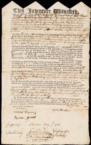 Document of indenture: Servant: Green, John. Master: Barber, John. Town of Master: Boston