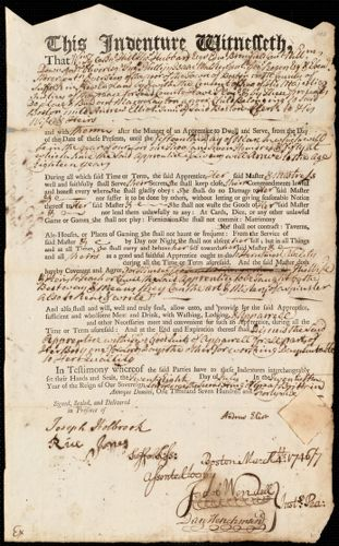 Document of indenture: Servant: Layton, Mary. Master: Elliot, Andrew Jr. Town of Master: Boston
