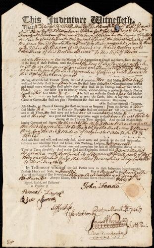 Document of indenture: Servant: Still, Mary. Master: Fenne, John. Town of Master: Boston