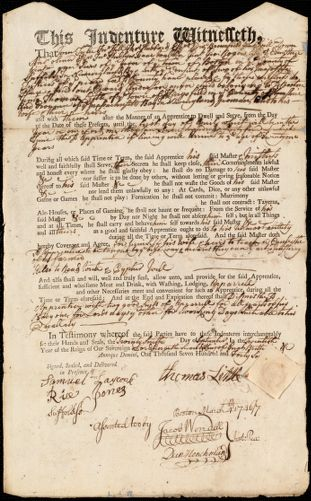 Document of indenture: Servant: Anderson, Edward. Master: Little, Thomas. Town of Master: Kingsfield