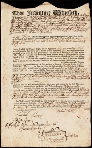 Document of indenture: Servant: Dean, Ephraim. Master: Salter, Richard. Town of Master: Mansfield
