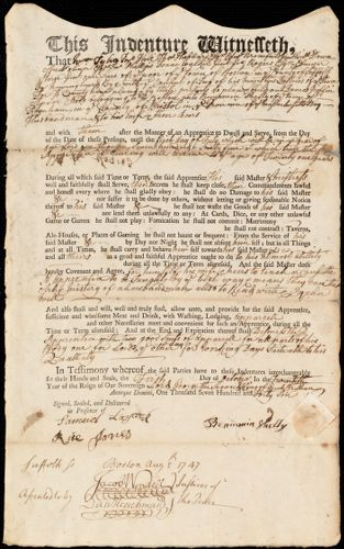 Document of indenture: Servant: Griffin, James. Master: Shelly, Benjamin. Town of Master: Raynham