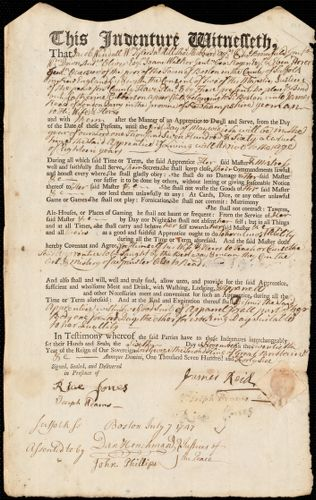 Document of indenture: Servant: Culberson, Catherine. Master: Reid [Read], James. Town of Master: Londonderry