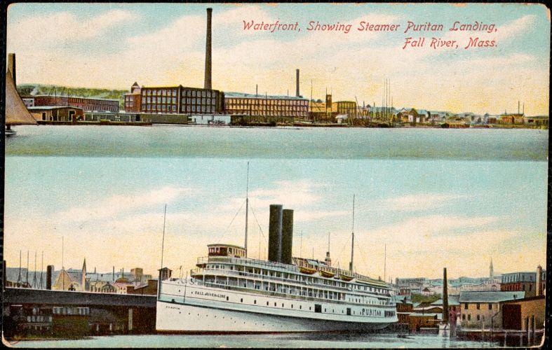 Waterfront, showing Steamer Puritan landing, Fall River, Mass.
