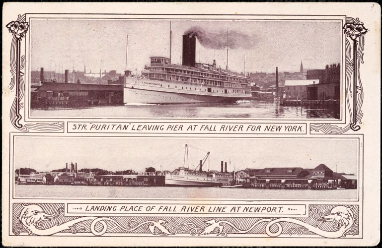 "Str. ""Puritan"" leaving pier at Fall river for New York"