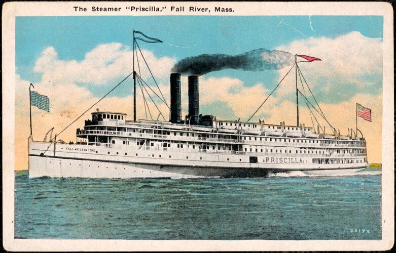 """The Steamer """"Priscilla"""", Fall River, Mass."""