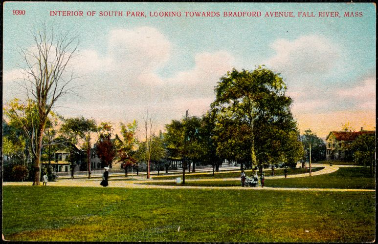 Interior of South Park, looking towards Bradford Avenue, Fall River, Mass.