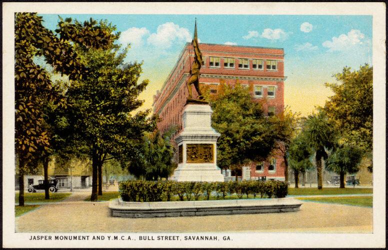 Jasper Monument and Y.M.C.A., Bull Street, Savannah, Ga.
