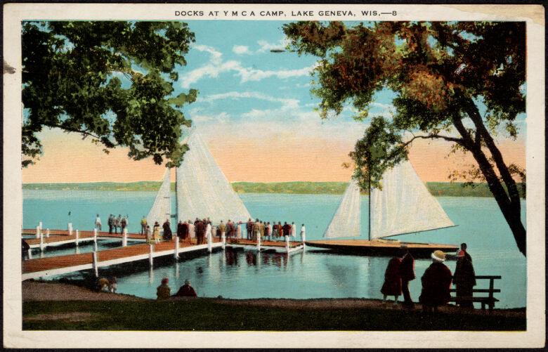 Docks at Y M C A camp, Lake Geneva, Wis.