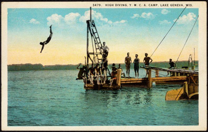 High diving, Y.M.C.A. camp, Lake Geneva, Wis.