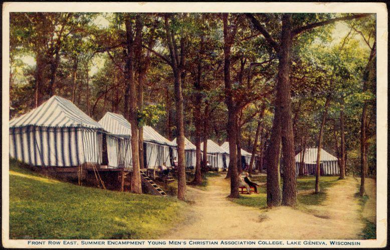 Front row east, summer encampment Young Men's Christian Association College, Lake Geneva, Wisconsin