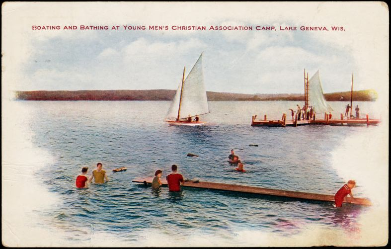 Boating and bathing at Young Men's Christian Association Camp, Lake Geneva, Wis.