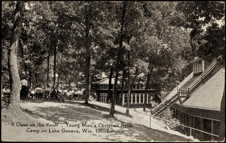 """""""A class on the knoll"""", Young Men's Christian Assn. Camp on Lake Geneva, Wis."""