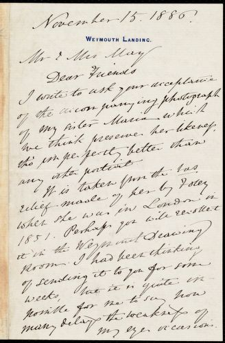 Letter from Anne Warren Weston, Weymounth Landing, [Mass.], to Samuel May and Sarah Russell May, November 15, 1886