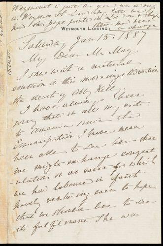 Letter from Anne Warren Weston, Weymouth Landing, [Mass.], to Samuel May, Saturday, Jan. 15, 1887
