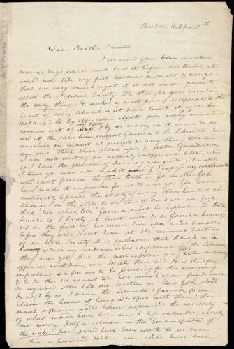 Letter from Anne Warren Weston, Boston, to Henry Brewster Stanton, October 11th [1837]