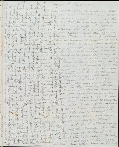 Letter from Anne Warren Weston, Weymouth, [Mass.], to Deborah Weston, April 1, 1842
