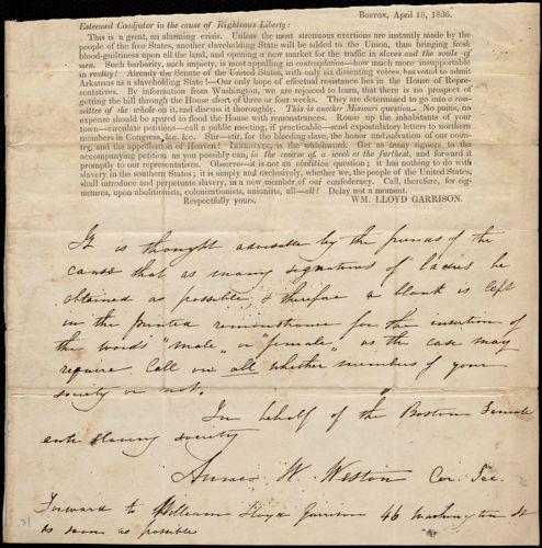 Letter from Anne Warren Weston to William Lloyd Garrison, [ca. April 18, 1836]