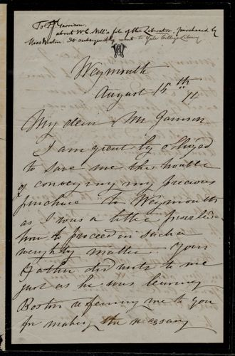 Letter from Caroline Weston, Weymouth, [Mass.], to Francis Jackson Garrison, August 15th, [18]74