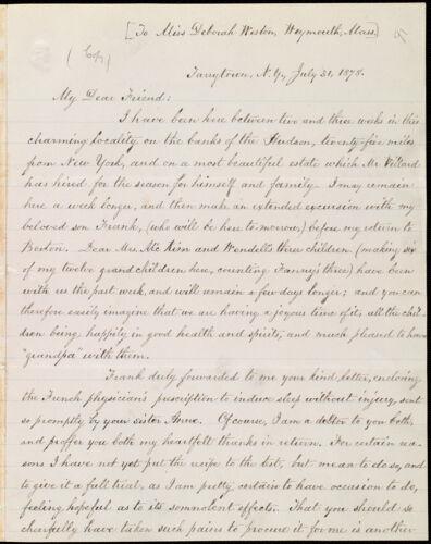 Copy of letter from William Lloyd Garrison, Tarrytown, N.Y, to Deborah Weston, July 31, 1878