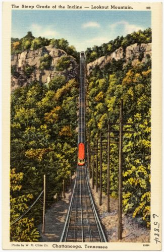 The steep grade of the incline -- Lookout Mountain, Chattanooga, Tennessee