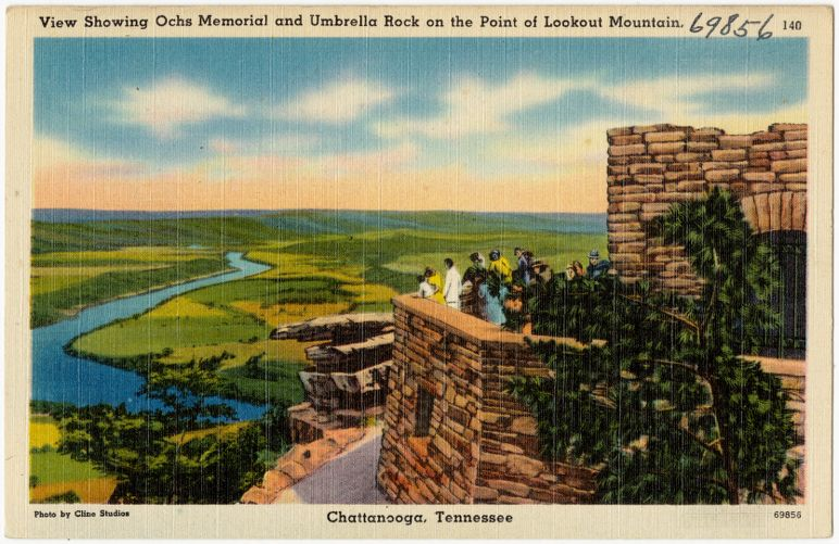 View showing Ochs Memorial and Umbrella Rock on the poin of Lookout Mountain, Chattanooga, Tennessee