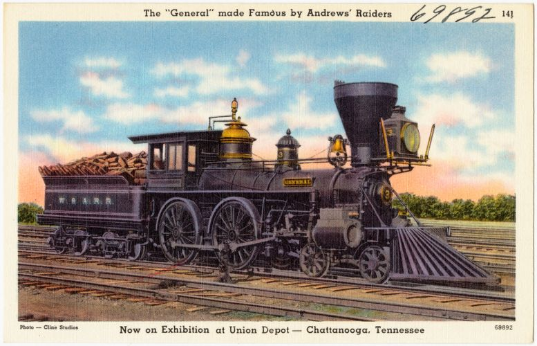 "The ""General"" made famous by Andrew's Raiders, now on exhibition at Union Depot -- Chattanooga, Tennessee"