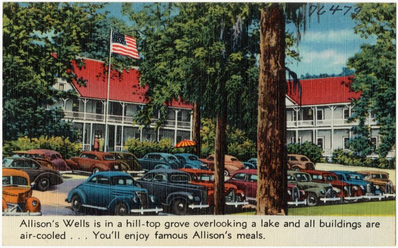 Allison's Wells is a hill-top grove overlooking a lake and all buildings are air-cooled... You'll enjoy famous Allison's meals.