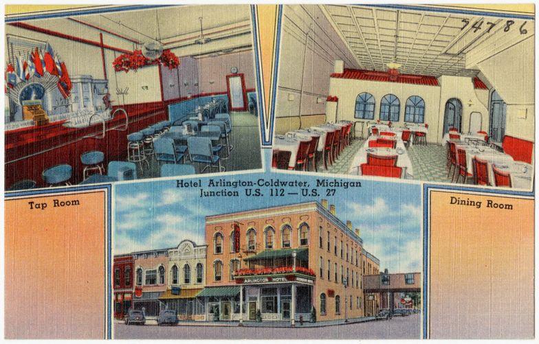 Hotel Arlington - Coldwater, Michigan, Junction U.S. 112 -- U.S. 27, tap room, dining room