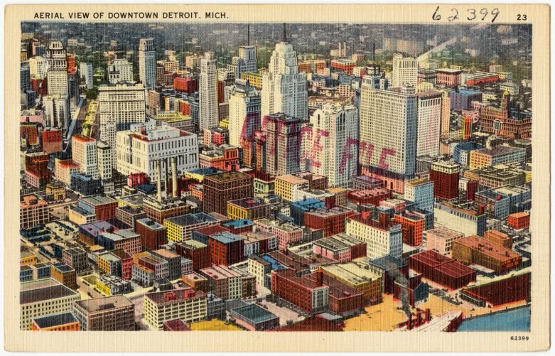 Aerial view of downtown Detroit, Mich.