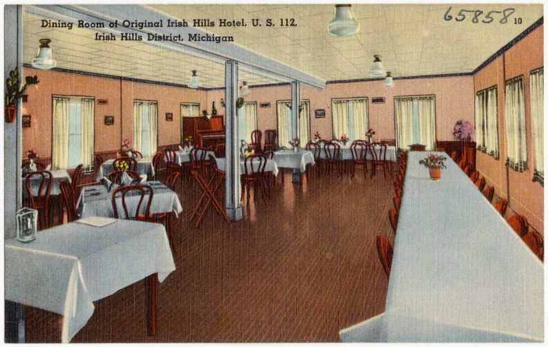 Dining room of original Irish Hills Hotel, U. S. 112, Irish Hills District, Michigan